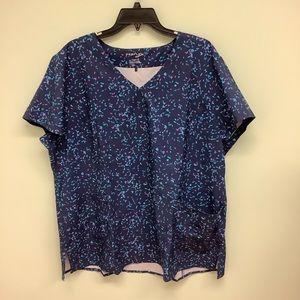 PerFlex | Women's Scrub Top | Blue | Patterned